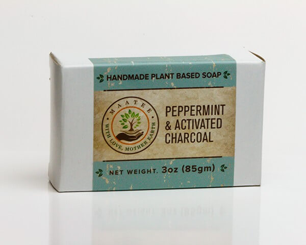 Peppermint And Activated Charcoal handmade bar soap package