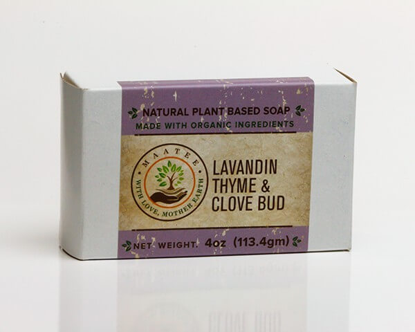 Lavandin Thyme And Clove Bud Organic Bar Soap with package