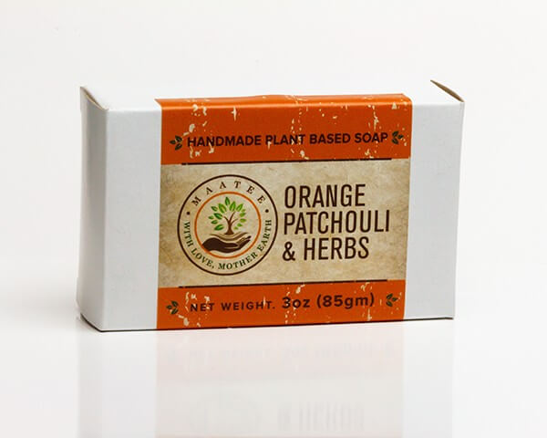 Orange Patchouli And Herbs handmade bar soap package