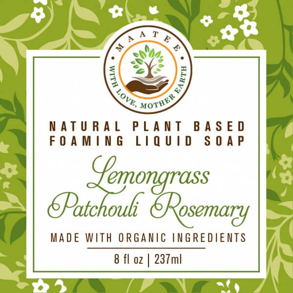 Lemongrass Patchouli Rosemary Organic Liquid Foaming soap front label