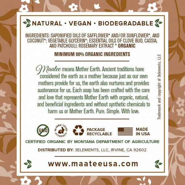 Oatmeal And Clove Organic Liquid Foaming soap back label