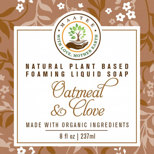 Oatmeal And Clove Organic Liquid Foaming soap front label