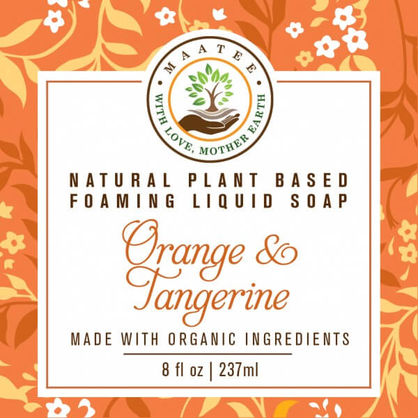 Orange and Tangerine Organic Liquid Foaming Soap front label