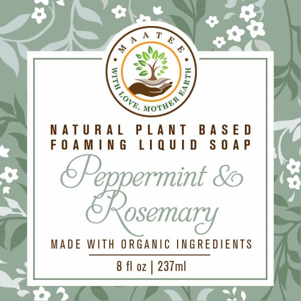 Peppermint And Rosemary Organic Liquid Foaming soap front label