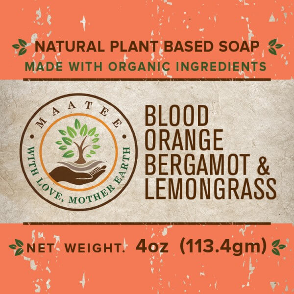 Blood Orange Bergamot And Lemongrass Organic Bar Soap front label