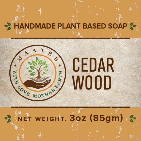 Cedar Wood handmade bar soap front label