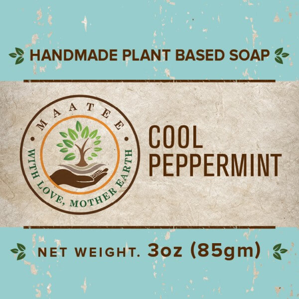 Cool Peppermint handmade bar soap front label