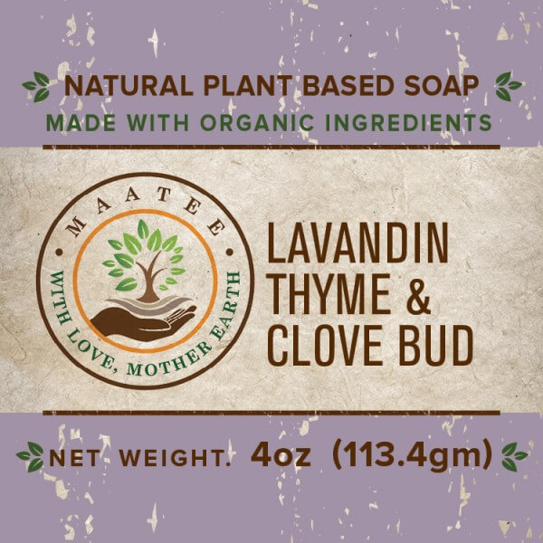 Lavandin Thyme And Clove Bud Organic Bar Soap front label