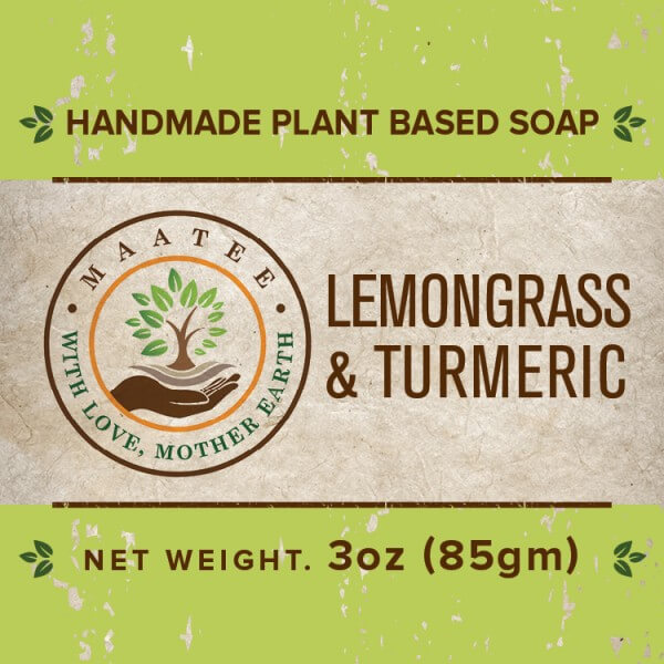 Lemongrass and Turmeric handmade bar soap front label