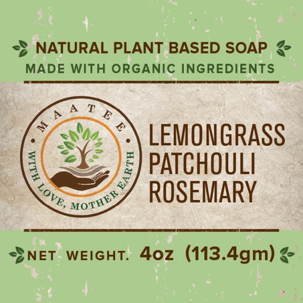 Lemongrass Patchouli Rosemary Organic Bar Soap front label