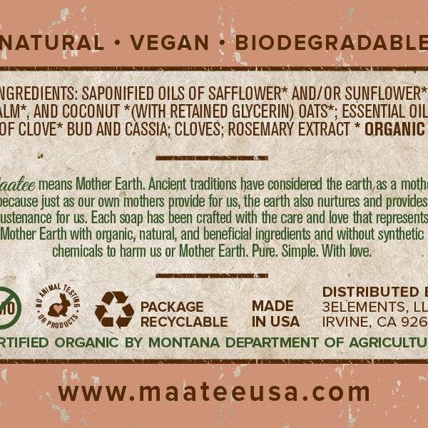 Oatmeal And Clove Organic Bar Soap back label