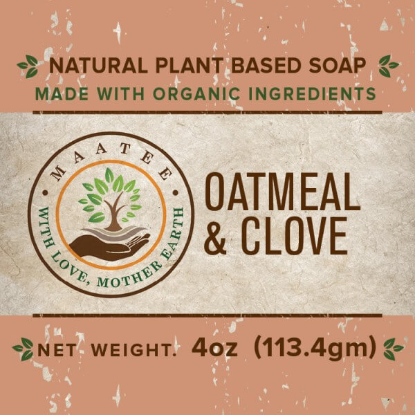 Oatmeal And Clove Organic Bar Soap front label