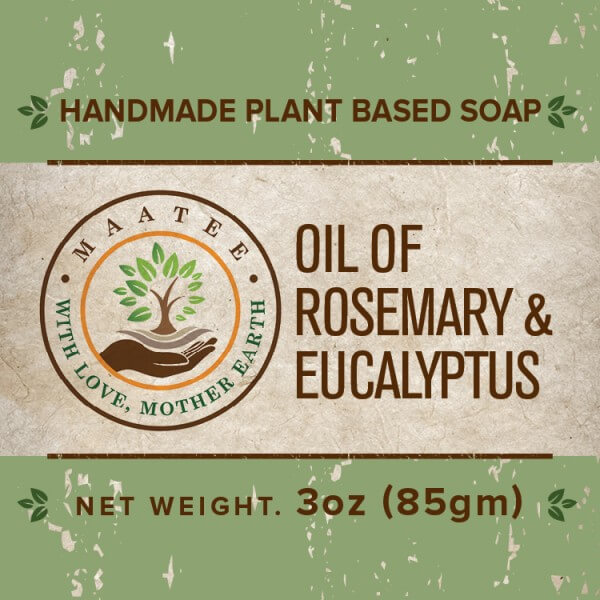 Oil of Rosemary And Eucalyptus handmade bar soap front label