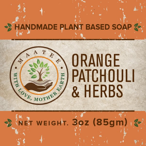 Orange Patchouli And Herbs handmade bar soap front label