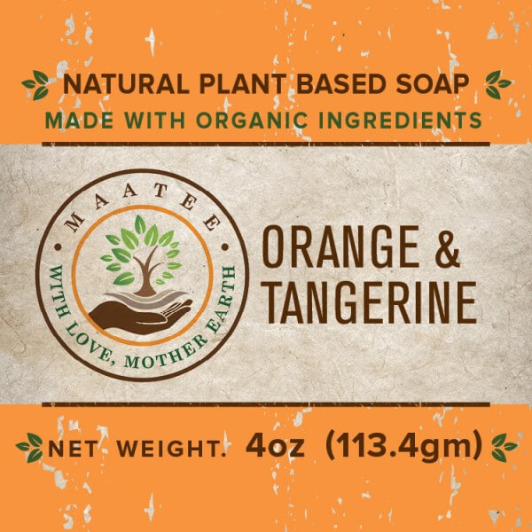 Orange And Tangerine Organic Bar Soap front label