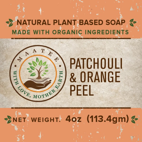 Patchouli And Orange Peel Organic Bar Soap front label