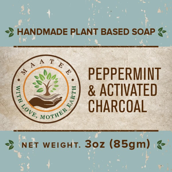 Peppermint And Activated Charcoal handmade bar soap front label