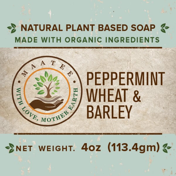 Peppermint Wheat And Barley Organic Bar Soap front label