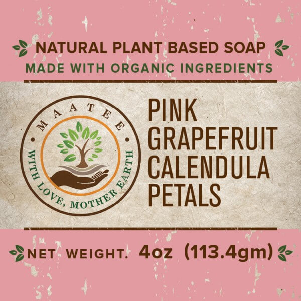 Pink Grapefruit And Calendula Petals Organic Bar Soap front label