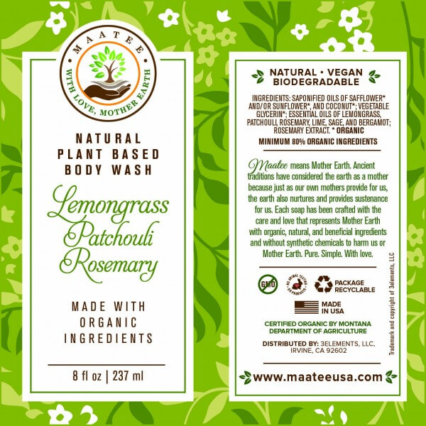Lemongrass Patchouli Rosemary Body Wash Label