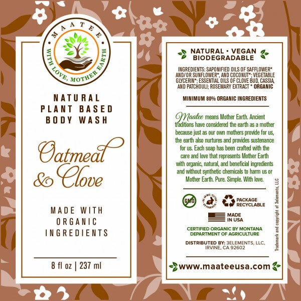 Oatmeal And Clove Body Wash Label