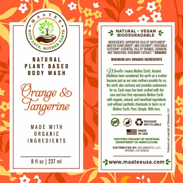 Orange and Tangerine Body Wash Label