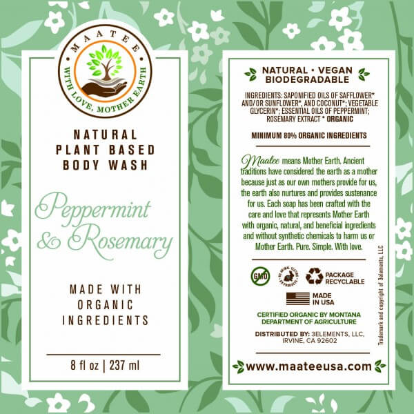Peppermint And Rosemary Body Wash Label