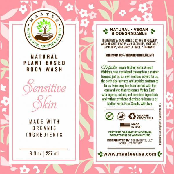 Sensitive Skin Body Wash Label