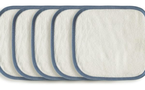 5 Organic Wash Cloth Blue