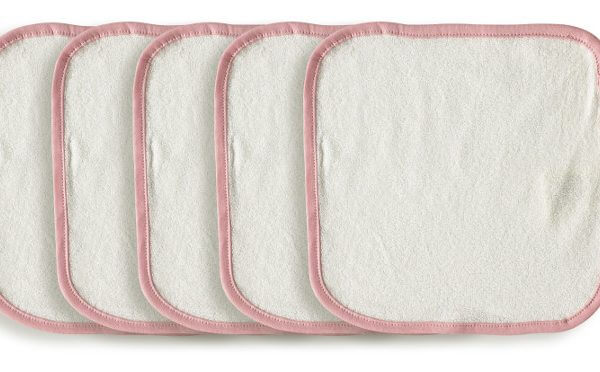 5 Organic Wash Cloth Pink