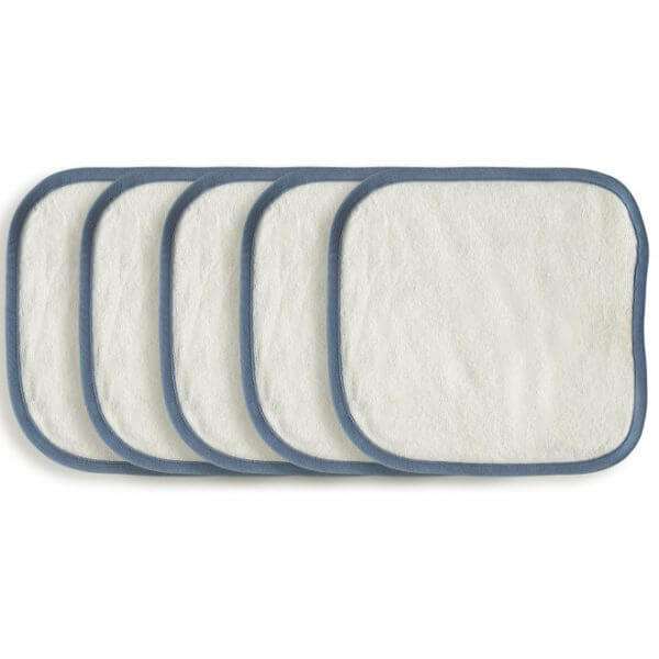 Organic Wash Cloth Blue Set of 5