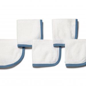 Organic Wash Cloth Blue Set of 5 Main