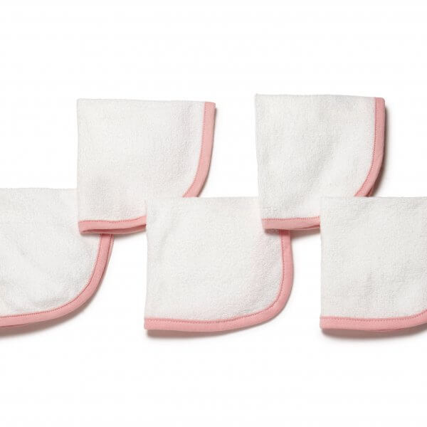 5 Organic Wash Cloth Pink Main