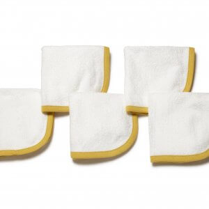 Organic Wash Cloth Yellow Set of 5 Main